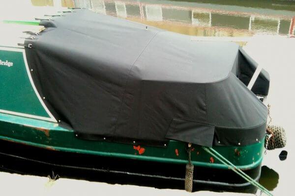 dark green Narrow Boat Cruiser Stern Tonneau