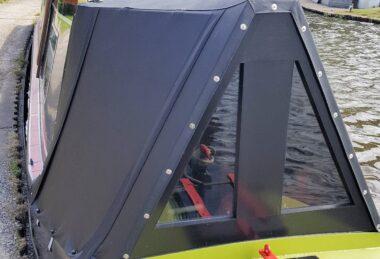 Custom black narrow boat cratch cover