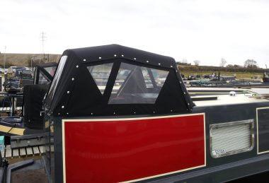 Custom Black Narrowboat Semi-Traditional Back Hood