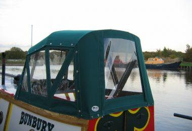 Custom Green Narrowboat Semi-Traditional Back Hood
