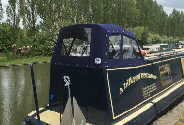 Custom Navy-Blue Narrowboat Semi-Traditional Back Hood