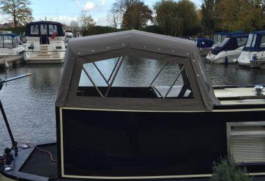 Custom Grey Narrowboat Semi-Traditional Back Hood
