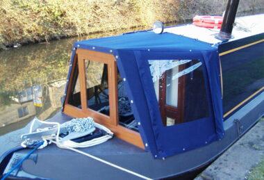 blue custom narrowboat cratch cover