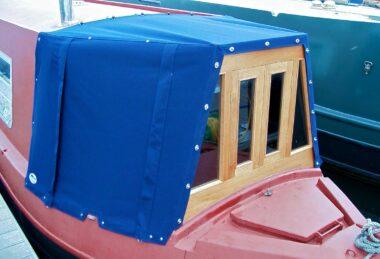 Custom blue narrow boat cratch cover