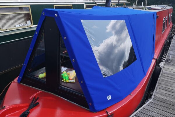 custom blue narrow boat cratch cover