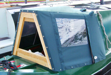 dark green narrowboat cratch cover