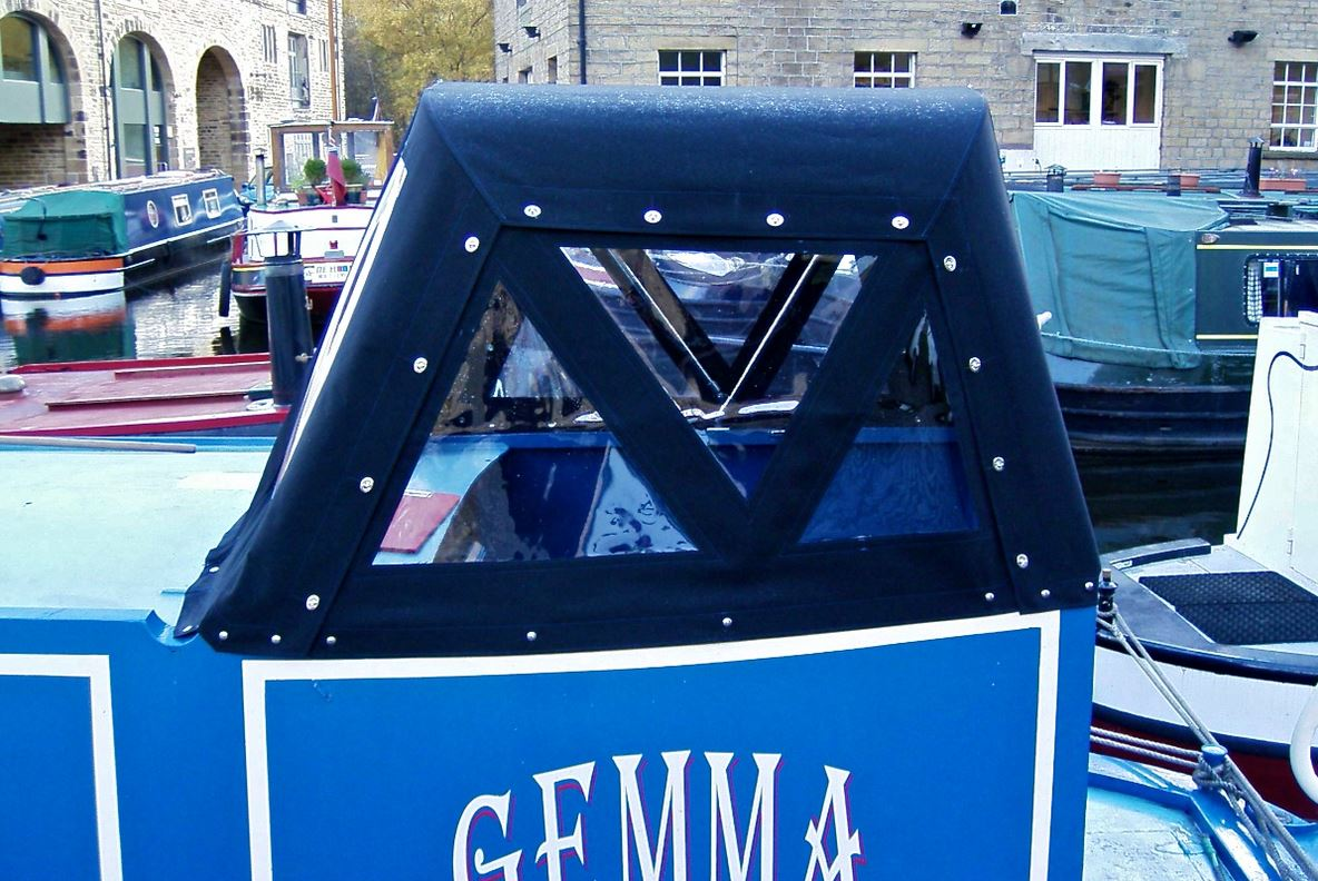 Custom Navy-Blue Narrowboat Traditional Back Helm Hood/Pod
