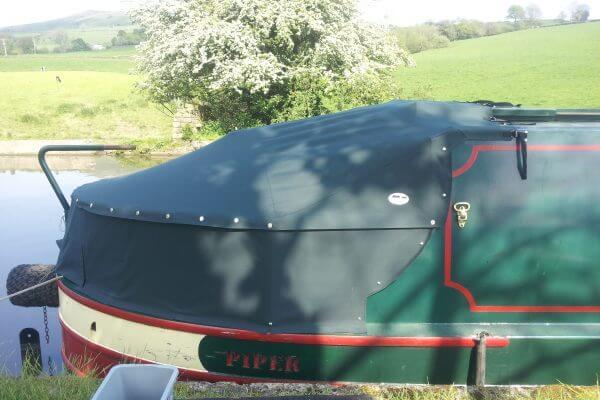 Custom Dark-Green Narrowboat Cruiser Stern Tonneaus