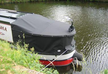 Custom Black Narrowboat Cruiser Stern Tonneaus