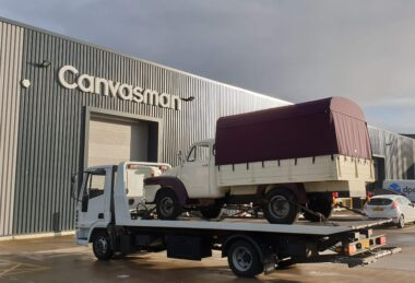 Custom Burgundy Food Truck Awning Canopy