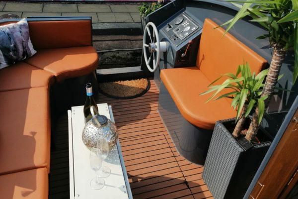Custom Tan Orange Nautolex Marine Upholstery
