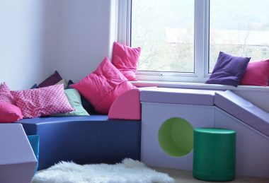 pink, blue, green and purple Commercial Upholstery