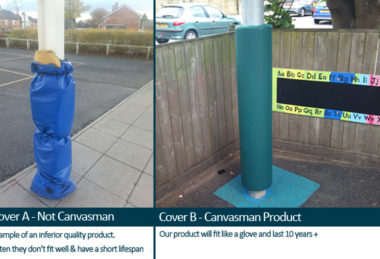 Custom Canvasman Shade Sail Post Protector Comparison To Competitor Post Protector