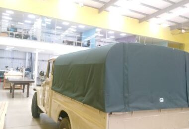 Custom Army-Green Land Rover Cover