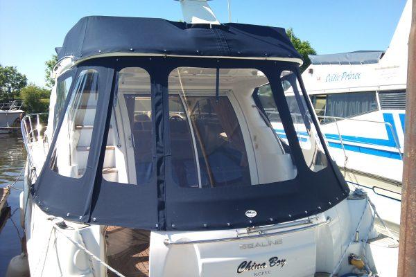 Custom Navy-Blue Motor Cruiser Sloping Back Hood