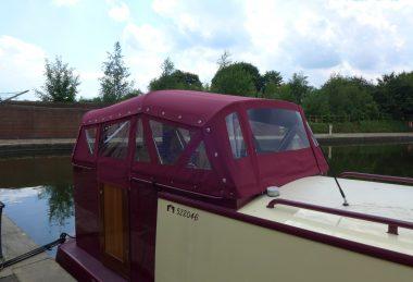 maroon Narrow Boat Cruiser Stern Hood