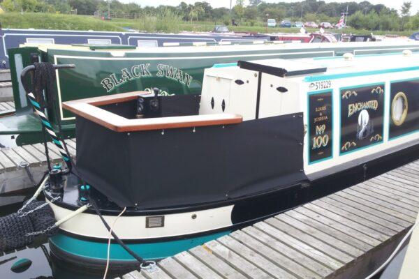 Custom Black Narrowboat Cruiser Stern-Skirt