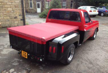 Custom Red Pick-up Truck Tonneau Cover