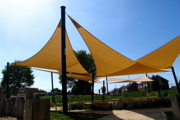 Custom Beige Semi-Permanent Shade sail Sun Canopy