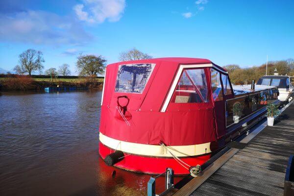 red Wide Beam Cruiser Stern Hood