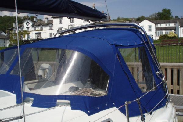 Custom Navy-Blue Yacht Spray Hood Campa Back