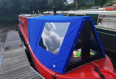 custom blue narrow boat cratch cover with window