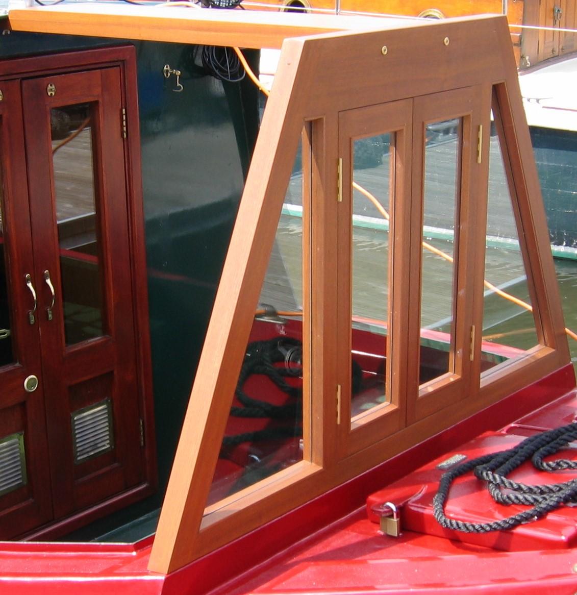 Sapele open window raised woodwork cratch