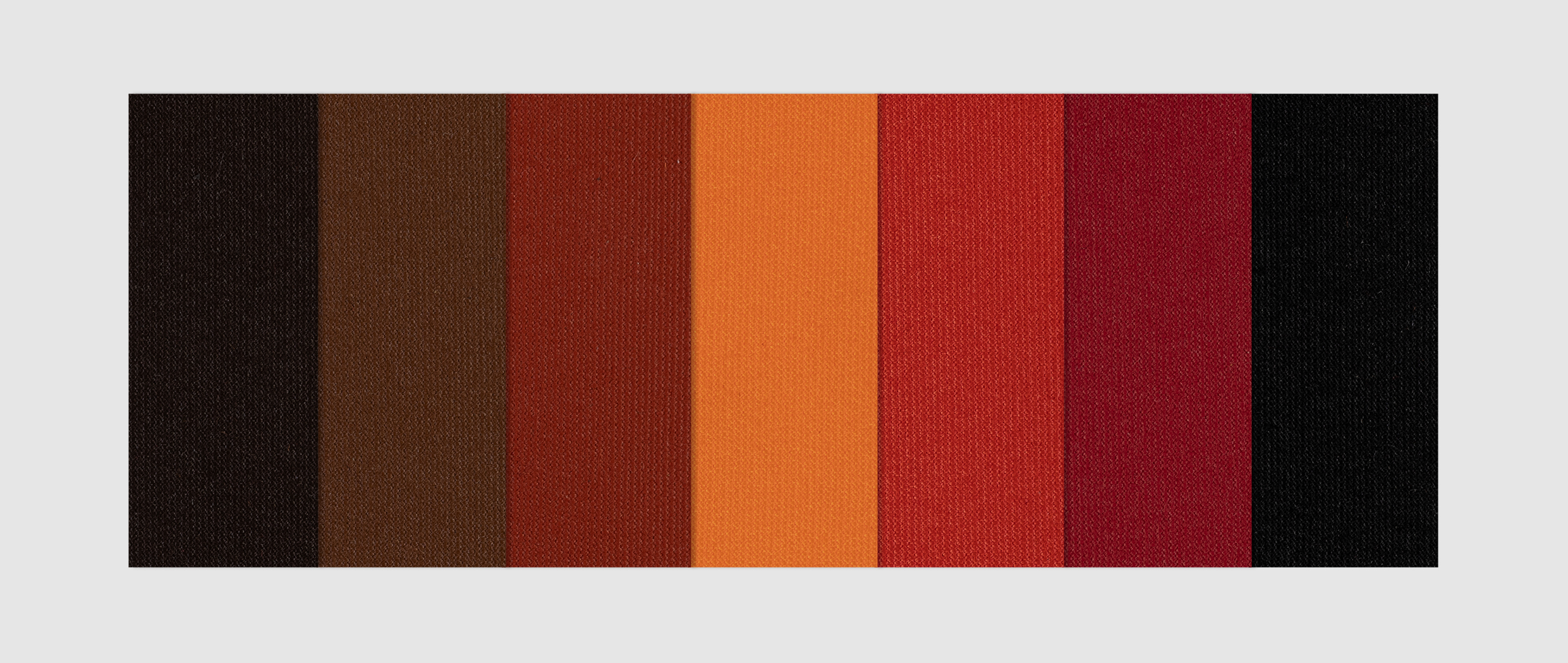 Marine Grade Fabric in cafe, brown, rust, orange, bright red, mid red and black